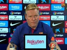 Koeman en conférence de presse. BarçaTV
