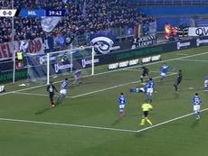 El increíble fallo de Ibrahimovic en boca de gol que ni el mismo se creía. Captura