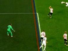 Morata had two goals ruled out. Screenshot/MovistarLigadeCampeones