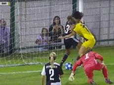 Alexia marcó el primer gol del Barça Femenino en la Champions 2019-20. Captura/BarçaTV
