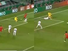 Semedo hizo el trabajo y Silva se llevó el premio en el 1-0. Capturas/UEFATV