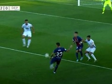 Dani Raba puso el 2-0 en el marcador para el Huesca. Captura/LaLiga
