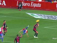 Djurdjevic marcó ante el Tenerife. Captura/LaLiga1/2/3TV