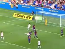 Jessica Martínez marcó el primer gol del Tacón en Primera. Captura/Footters