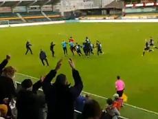 ¡El Brujas le empató al Madrid en la Youth League con un gol de su portero! Captura/Twitter