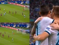 Le Celso envoie l'Argentine en demi-finale après l'erreur de Faríñez. Capture/DAZN