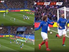 Umtiti puso el 1-0. Captura/M6
