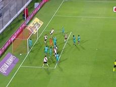 El claro fuera de juego en el 1-0 de Borré a Liga de Quito. Captura/ESPN
