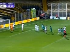 Un regreso inmejorable: gol olímpico tras el parón por el virus. Captura/WinSports