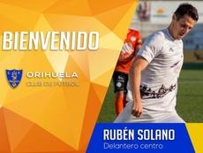 El Orihuela incorpora al delantero Rubén Solano. Twitter/Orihuela_CF