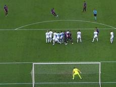 No pudieron parar a Messi. Captura/Movistar