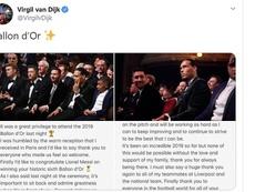 El mensaje de Van Dijk en redes. Twitter/VirgilvDijk