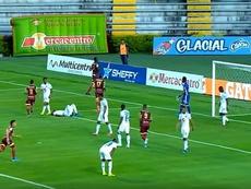 El balón parado y una roja desmontan a Millonarios. Captura/RCN
