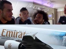Las confesiones del Madrid en el Emirates A380. Twitter/RealMadrid