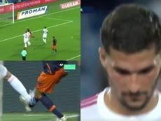 Los siete minutos para olvidar del Lyon: gol de 'Panenka' en contra y roja a Aouar. Captura/Movistar