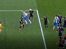 El Espanyol reclamó un posible penalti. Captura/MovistarLaLiga