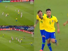 Gabriel Jesus volta a colocar o Brasil na frente. Captura/DAZN