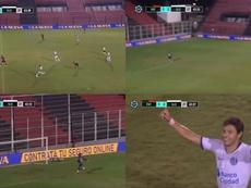 El envidiable golazo de Óscar Romero desde medio campo. Captura/TNTSports