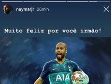 Neymar a félicité Lucas Moura. Instagram/Neymar Jr