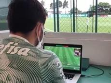 Abel Ferreira dirigió el entrenamiento gracias a un dron. Captura/Twitter/Palmeiras