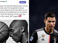 Cristiano, abatido: Bryant foi uma inspiração em sua carreira. Montaje/Twitter/AFP