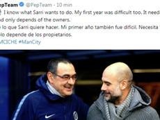 Pep parle de Sarri après la défaite de Chelsea. Twitter/Pepteam