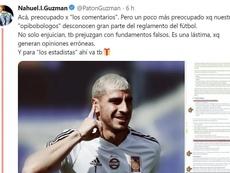 Nahuel se cansó de las críticas y respondió en redes sociales. Twitter/PatonGuzmanA