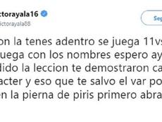 Ayala se enzarzó con Ruggeri y con varios aficionados en Twitter. Captura/VictorAyala88