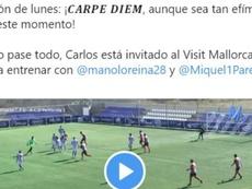 El Mallorca felicitó al portero del Vinaròs, con ofertas para ser delantero. Twitter/RCD_Mallorca