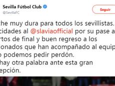 El Sevilla pidió perdón. Captura/SevillaFC