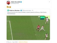 Iñaki Williams alimentó la polémica desde el mismo vestuario de San Mamés. Twitte/Williaaams45