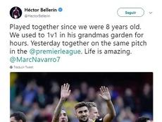 Bellerín y Marc Navarro tuvieron su particular reencuentro en la Premier. Twitter/HectorBellerin