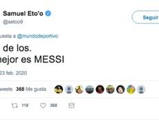 Eto'o made himself clear. Twitter/setoo9