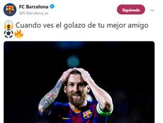 Messi est resté bouche bée devant le but de Suarez. Twitter/FCBarcelona_es