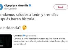 El guiño del Marsella a León por su increíble racha. Twitter/OM_Espanol