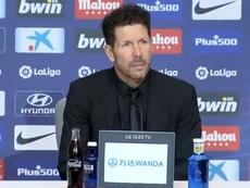 Técnico Simeone em entrevista coletiva. Twitter/Atleti