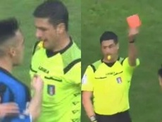 Les deux visages de Lautaro : but et expulsion. Captura/MovistarLigadeCampeones