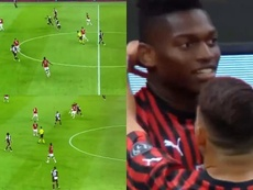 Cristiano quiso hacer de Messi, perdió la pelota y provocó el gol del Milan. Captura/Movistar