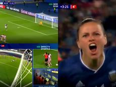 Del 3-0 al 3-3 en 20 minutos con un penalti repetido por el VAR. Captura/DirecTVSports