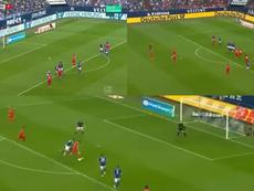 De penalti, de falta.. otra exhibición de Lewandowski. Captura/Movistar