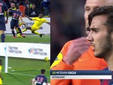 Capturas de Metehan Guclu, debutante y goleador en el Nantes-PSG. Capturas/Vamos