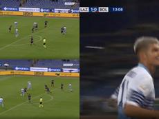 Correa controló con un taconazo para batir al Bologna. Captura/PremierSports