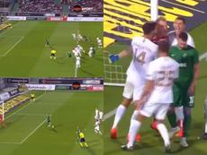 La palomita de Dibusz para parar el penalti 'a lo Panenka' de Swierczok. Captura/DiemaSport