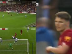 Steven Gerrard's cousin scored his first senior goal for Liverpool. Screenshot/LFCTV