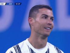 Por algo es el espejo del alma: la cara de Cristiano tras el 2-0 lo dice todo. Captura/ESPN2