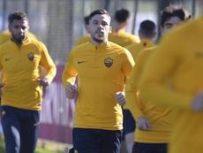 Carles Pérez a été présenté ce mercredi. Twitter/ASRomaEN