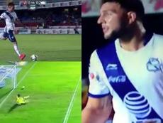 Cavallini tiró el penalti de una forma insólita. Captura/AztecaDeportes