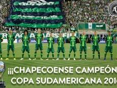 Chapecoense, campeón de la Sudamericana 2016. CONMEBOL