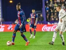 Doukouré no ha tenido suerte con la SD Huesca. EFE