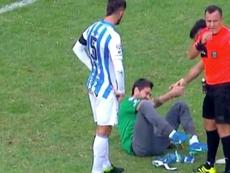 Cristian Lucchetti se duele de un golpe en el Atlético Tucumán-Godoy Cruz. Captura/FOXSports